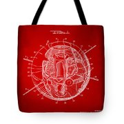 1958 Space Satellite Structure Patent Red Tote Bag