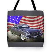 1960 Cadillac Luxury Car And American Flag Tote Bag