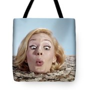 1960s Blond Woman Funny Facial Tote Bag