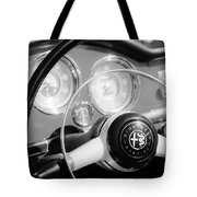 1961 Alfa Romeo Giulietta Spider Steering Wheel Emblem -1239bw Tote Bag