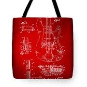 1961 Fender Guitar Patent Artwork - Red Tote Bag