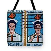 1962 Nursing Stamp Collage Tote Bag