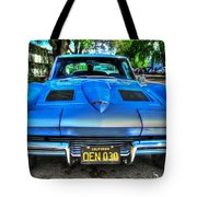 1963 Blue Corvette Stingray-front View Tote Bag
