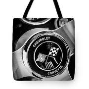 1963 Chevrolet Corvette Split Window Steering Wheel Emblem -309bw Tote Bag