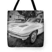 1963 Chevy Corvette Coupe Painted Bw    Tote Bag
