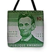 1965 Rwanda Abraham Lincoln Stamp Tote Bag