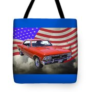 1966 Chevy Chevelle Ss 396 And United States Flag Tote Bag