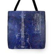 1966 Fender Acoustic Guitar Patent Drawing Blue Tote Bag