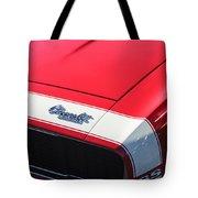 1967 Chevrolet Camaro Ss 350 Convertible Hood Emblem Tote Bag