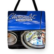 1967 Chevrolet Camaro Ss 350 Headlight - Hood Emblem  Tote Bag