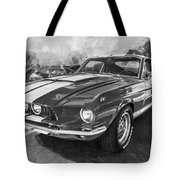 1967 Ford Shelby Mustang Gt500 Painted Bw Tote Bag