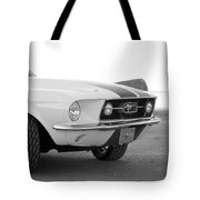 1967 Mustang Front In Black Tote Bag