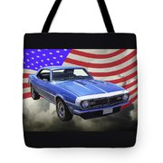 1968 Chevrolet Camaro 327 And United States Flag Tote Bag