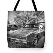 1968 Dodge Charger The Bullit Car Bw Tote Bag