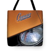 1969 Chevrolet Camaro Headlight Emblem Tote Bag by Jill Reger