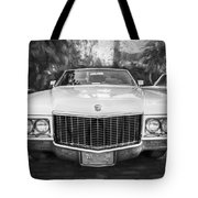 1970 Cadillac Coupe Deville Convertible Painted Bw Tote Bag