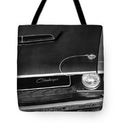 1970 Dodge Challenger T/a In Black And White Tote Bag