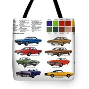 1970 Dodge Coronet Models And Colors Tote Bag