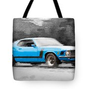 1970 Ford Mustang Boss Blue Watercolor Tote Bag