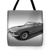1970 Mach 1 Mustang 351 Cleveland In Black And White Tote Bag