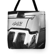1970 Olds 442 Black And White Tote Bag