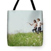 1970s Boy Girl Running Field Tote Bag