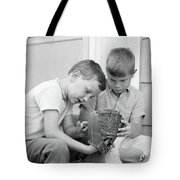 1970s Two Boys Seriously Inspecting New Tote Bag