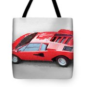 1974 Lamborghini Countach Watercolor Tote Bag