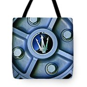 1974 Maserati Merak Wheel Emblem Tote Bag
