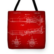1975 Space Vehicle Patent - Red Tote Bag
