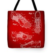1980 Soccer Shoes Patent Artwork - Red Tote Bag