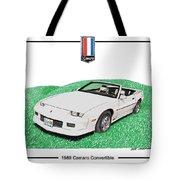 1989 Camaro Convertible Tote Bag