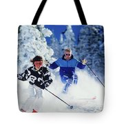 1990s Couple Skiing Vail Colorado Usa Tote Bag
