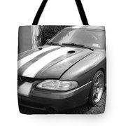 1996 Mustang Cobra In Black And White Tote Bag