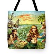 19th C. Mermaids At Ship Wreck Tote Bag