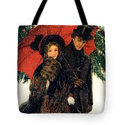 19th C. Young Couple In Winter Tote Bag