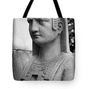 19th Century Granite Stone Sphinx Bust Black And White Poster Lo Tote Bag