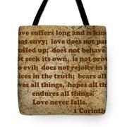 1st Corinthians 13 Verses 4-7 Tote Bag