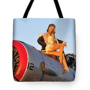 1940s Style Aviator Pin-up Girl Posing Tote Bag