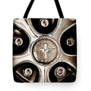 1966 Ford Mustang Gt Wheel Emblem Tote Bag
