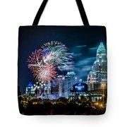4th Of July Firework Over Charlotte Skyline Tote Bag