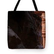 A Glimpse Of Al Khazneh From The Siq In Petra Jordan Tote Bag