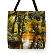 A River Landscape In Springtime Tote Bag