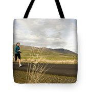 A Woman Out For A Jog In The Country Tote Bag