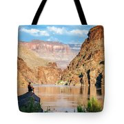 A Woman Sits By The Colorado River Tote Bag