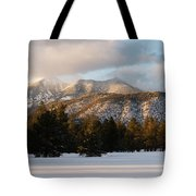 A Young Woman Snowshoes Through Freshly Tote Bag