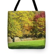 Autumn Hay Being Harvested In Maine Tote Bag