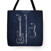 Bass Guitar Patent Drawing From 1960 Tote Bag