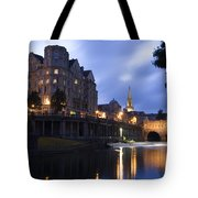 Bath City Spa Viewed Over The River Avon At Night Tote Bag