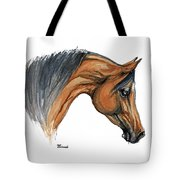 Bay Arabian Horse Watercolor Painting  Tote Bag
